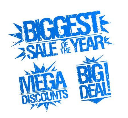 Biggest sale stamp imprints set - biggest sale of the year, mega discounts and big deal stamp Ilustración de vector