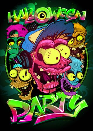 Halloween party poster with zombie crowd, hand drawn graphic banner with cartoon monsters