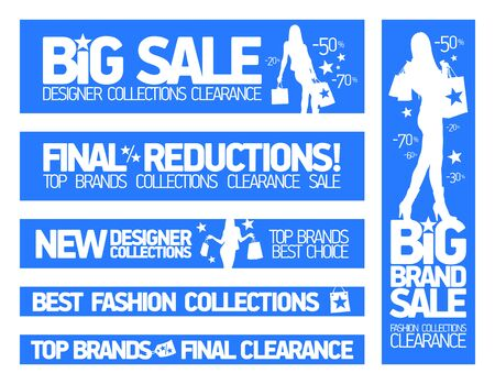 Fashion big sale banners set, discounts and new collections, big brands sale signs collection