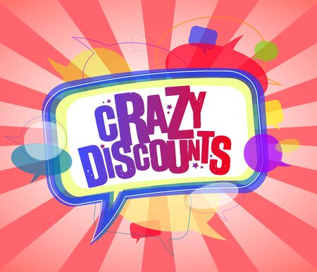 Crazy discounts banner design concept with speech bubbles, comic style sale vector poster Ilustrace