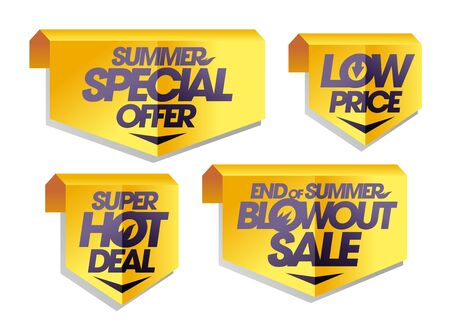 Signs and ribbons origami style set - summer special offer, super hot deal, low price, end of summer blowout sale