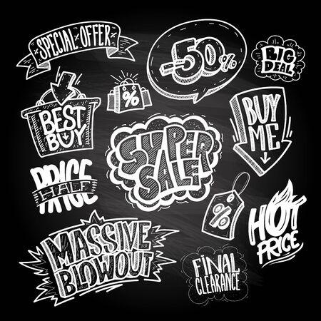 Hand drawn sale signs and elements set on a chalkboard - super sale, buy me, massive blowout, best buy, hot price, final clearance, special offer, half price, big deal, etc. Comic style icons vector illustration Illustration