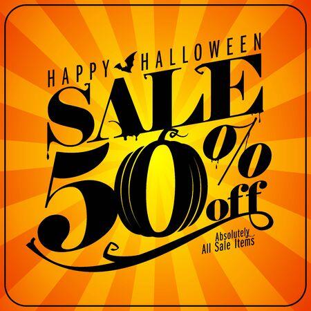 Venta de Halloween 50% de descuento, banner de letras vectoriales con rayos sobre un fondo