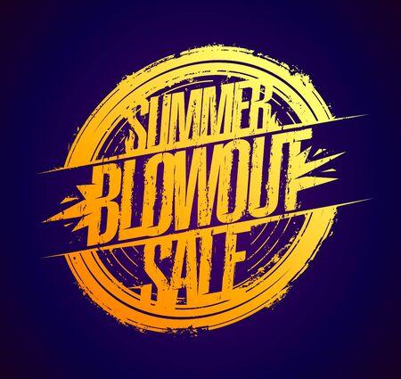 Summer blowout sale golden rubber stamp imprint Иллюстрация