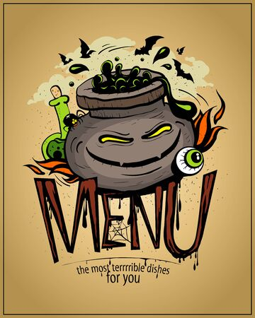 Halloween menu card cover art concept with devil potion jar