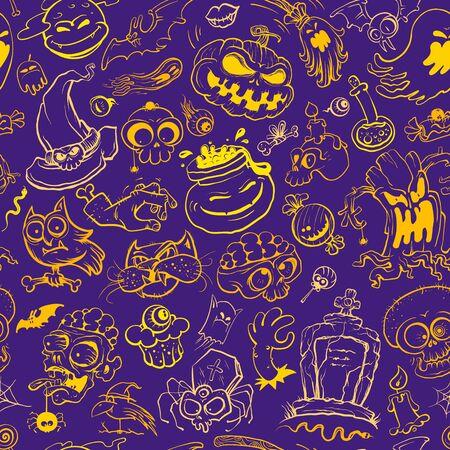 Halloween seamless pattern, hand drawn vector line graphic illustration with classic halloween art elements Иллюстрация