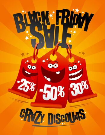 Black friday sale, crazy discounts banner concept Фото со стока - 128503707