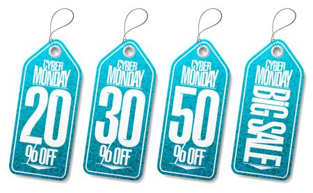 Syber monday sale labels set - 20% off, 30% off, 50% off, big sale price tags