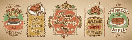 Happy thanksgiving day holiday menu board with classic dishes set - pumpkin and apple pie, roasted turkey, pumpkin soup and sweet potato Banque d'images - 128424449