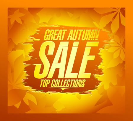 Great autumn sale poster concept, top collections, vector advertising banner design with yellow maple leaves backdrop Иллюстрация