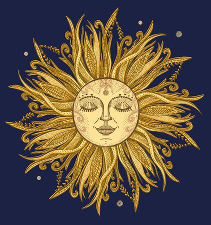 Golden sun graphic hand drawn sketch, vector illustration