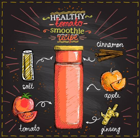 Healthy tomato smoothie recipe on a chalkboard, veggie cocktail menu with tomato, apple, ginseng and cinnamon, vegetables set sketch hand drawn graphic illustration