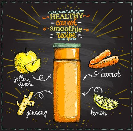 Healthy carrot smoothie recipe on a chalkboard, vegetarian smoothie menu with ingredients, vegetables set sketch hand drawn graphic illustration