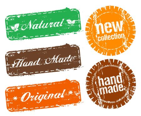 Natural, hand made, original, new collection and hand made - ecology fashion stamps set Иллюстрация