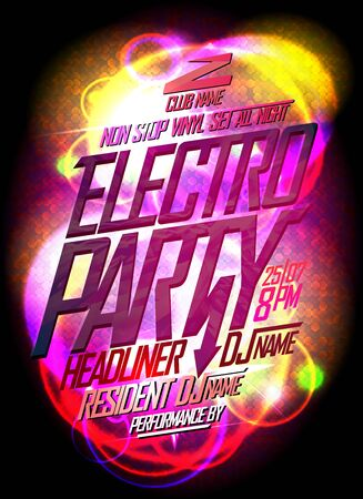Electro party bright neon poster concept