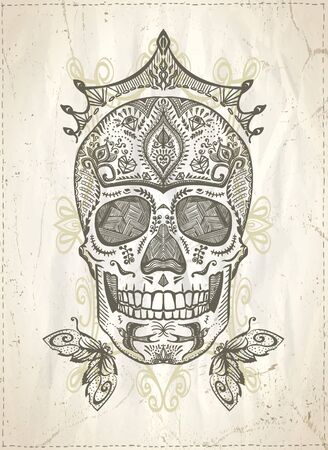 Hand drawn graphic ornamental decorated skull, sugar skull with crown Фото со стока - 129016151