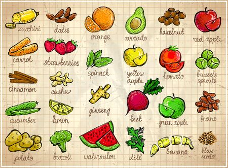 Raw fruits and vegetables graphic symbols set, hand drawn sketch illustration