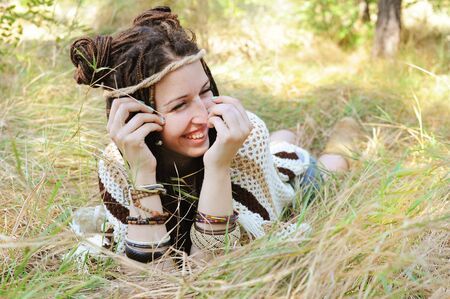 Joyful woman, have a fun in sunny autumn park