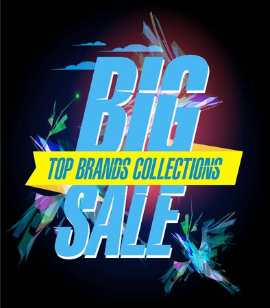 Big sale, top brands collections, vector poster design concept