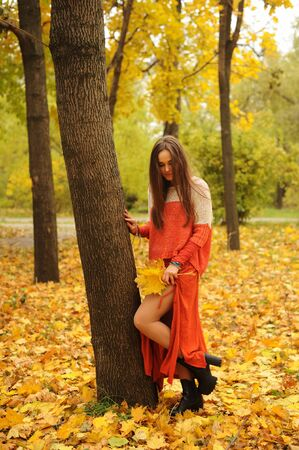 Pretty young woman posing in autumn park, dressed in casual orange sweater and skirt, autumn outdoor