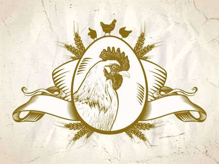 Hen or rooster symbol, old style chicken logo, farm fresh market sign