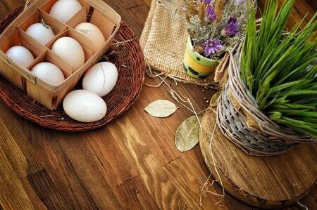 Farm fresh chicken eggs, still life organic food concept Фото со стока
