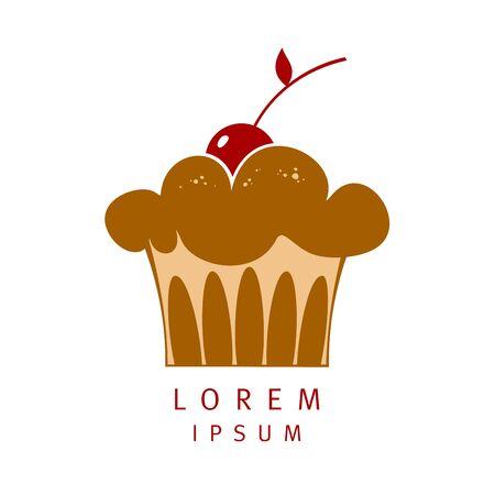 Muffin with cherry vector logo design Иллюстрация