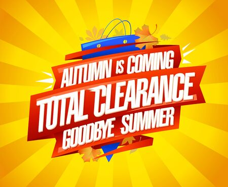 Autumn is coming, new autumn collections, sale summer collections, advertising vector banner design concept Фото со стока - 129016558