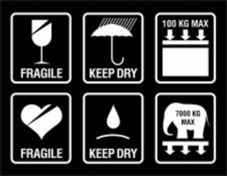 Packing symbols set - fragile, keep dry, max weight