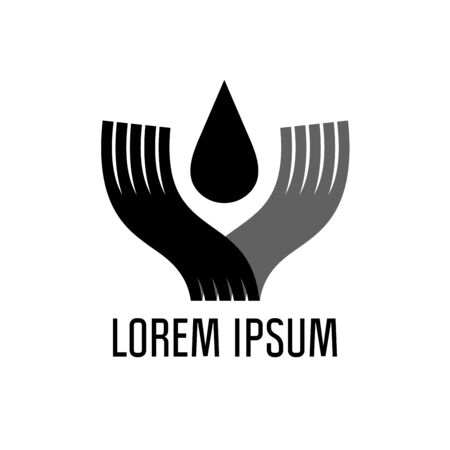 Drop of mineral oil in human hands, vector logo concept