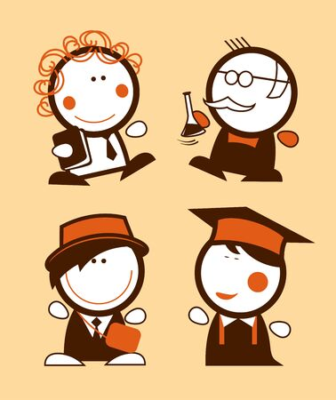 Teachers and students people figures vector set, education icons