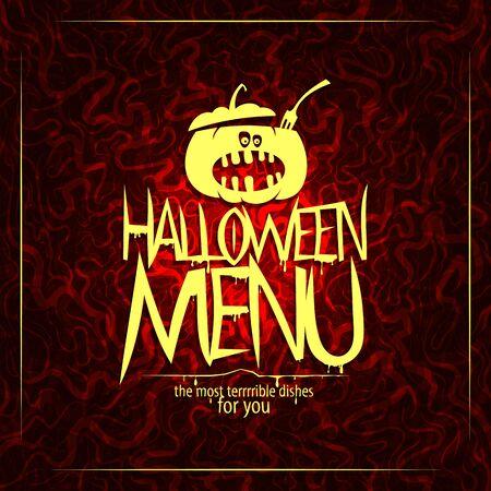Halloween menu card cover with halloween pumpkin cauldron Иллюстрация