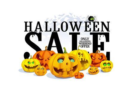 Concepto de banner de venta de halloween con calabazas