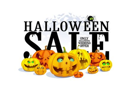 Halloween sale banner concept with pumpkins