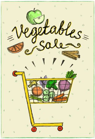 Vegetables sale poster with market cart full of fruits and vegetables, vector hand drawn illustration