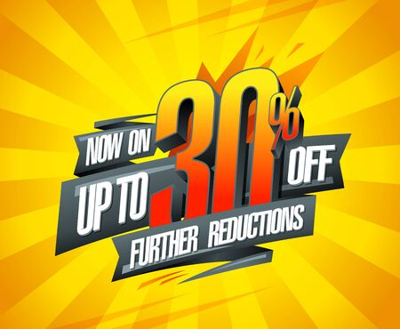 Up to 30% off, further reductions sale banner design concept