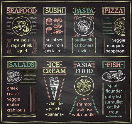Menú de cafetería de pizarra con mariscos, sushi, pasta, pizza, ensaladas, helados, comida asiática y plato de pescado, ilustración de dibujo gráfico dibujado a mano
