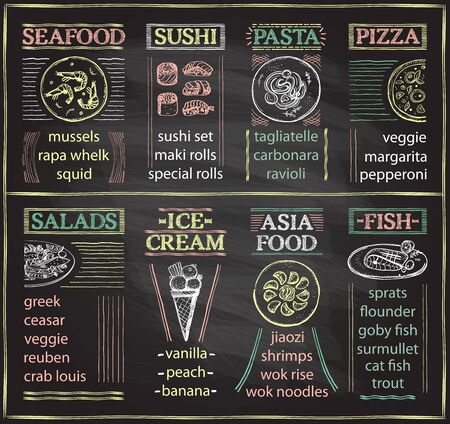 Menu kawiarni tablica z owocami morza, sushi, makaronem, pizzą, sałatkami, lodami, azjatyckim jedzeniem i daniem rybnym, ręcznie rysowane szkic graficzny ilustracja