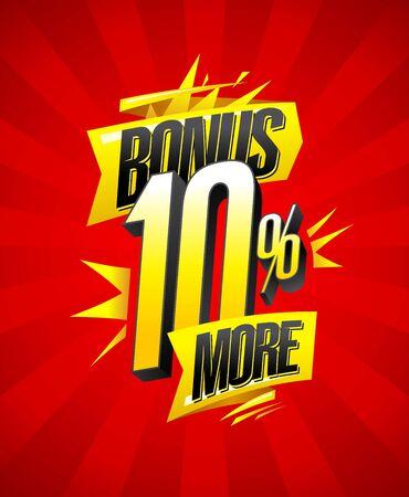 Bonus 10% more, sale banner design concept Иллюстрация