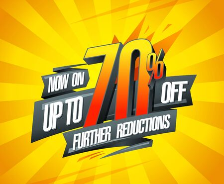 Up to 70% off, further reductions sale banner design concept