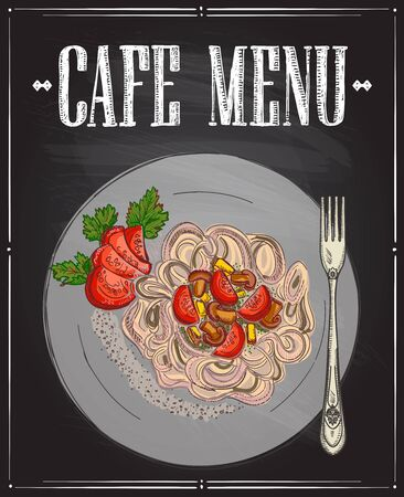 Cafe menu with vegetarian buckwheat pasta, gluten free diet dish, hand drawn graphic sketch illustration