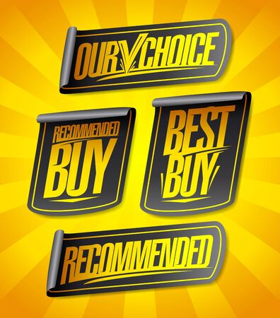 Recommended, our choice, best buy, recommended buy - sale stickers set