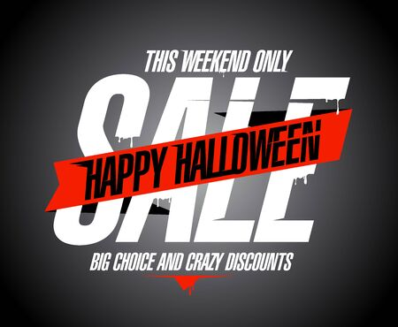 Happy halloween sale web banner design concept