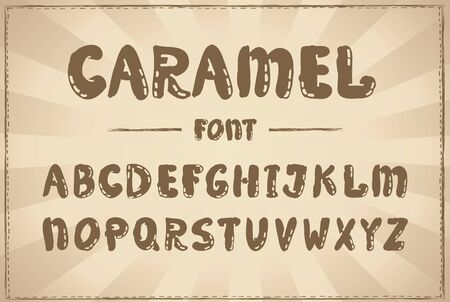 Handwriting vector font, cartoon caramel typography design, hand drawn alphabet Иллюстрация