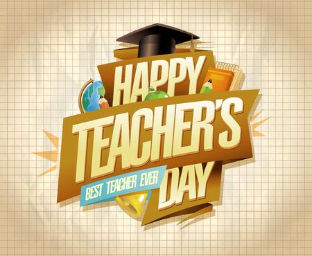 Happy teacher's day card or banner design, best teacher ever concept Фото со стока - 129514987