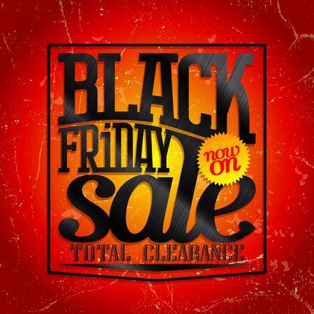Black friday sale, total clearance, web banner design concept Иллюстрация