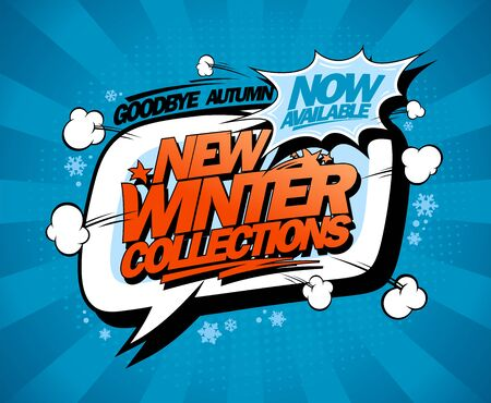 New winter collections now on, vector fashion banner design with speech bubble