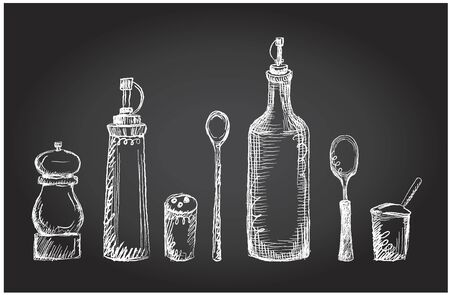 Set of kitchen utensils on a chalkboard, vector graphic symbols, rough line, hand drawn Фото со стока