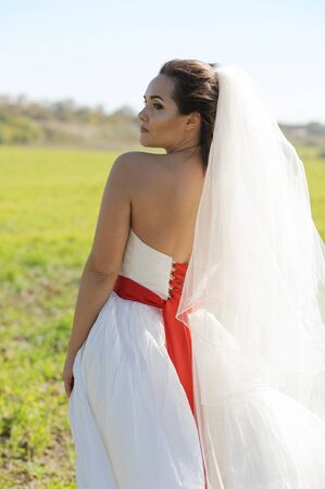 Pretty young bride walking on field, sunny backlite, windy weather Фото со стока