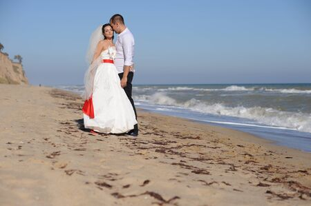 Young adult wedding couple kissing near the sea, outdoor Фото со стока